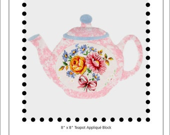 Orchard Ware teapot appliqué block
