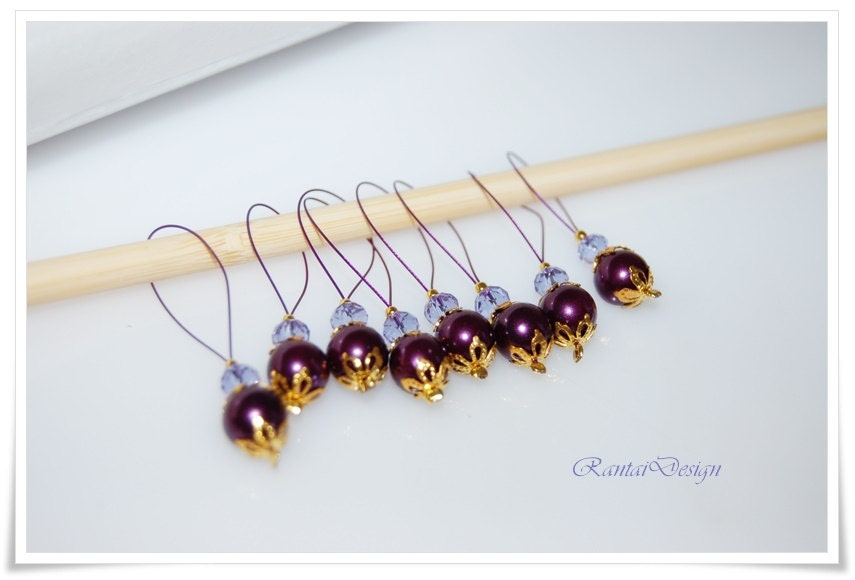 Marker wire loop lilac points crystals knitting accessories markers ...