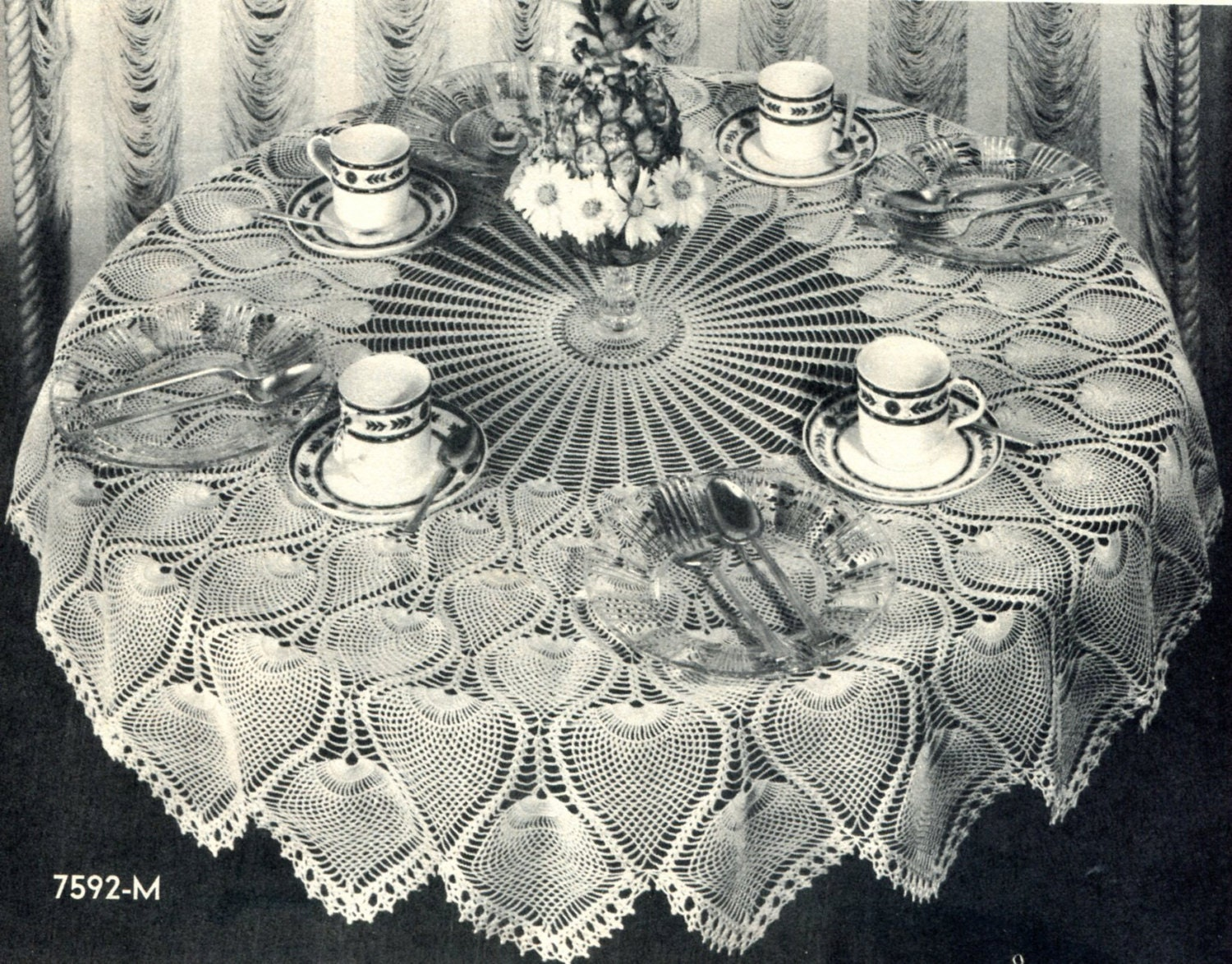 Pineapple Crochet Tablecloth Pattern Vintage 1940\'s