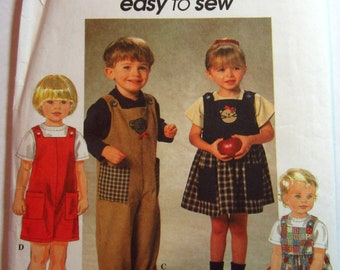 Easy Sew Toddlers Romper Overalls, Two Lengths and Jumper, Two Styles Sizes 2 3 4 Simplicity Pattern 7729 UNCUT