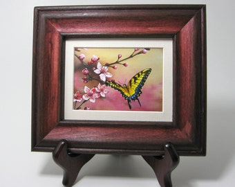 2.5x3.5 Cherry Blossom, Tiger Swallowtail Butterfly Desktop Mini Painting by J. Mandrick, FRAMED