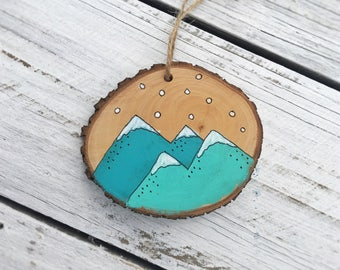 Mountains Christmas Ornament Wood Slice Hand Painted Rustic Tree Ornament Hanging made to order, Holiday Christmas Ornament
