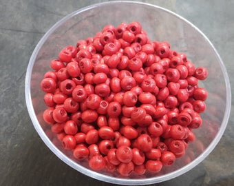 Round wooden beads wood spacer beads, 4 mm red donuts beads