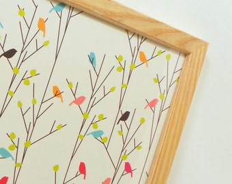 Magnetic Memo Board-Wall Decor-Storage and Organization-Magnet Board-Dry Erase Board-Framed Bulletin Board-Colorful Bird Design-Incl Magnets