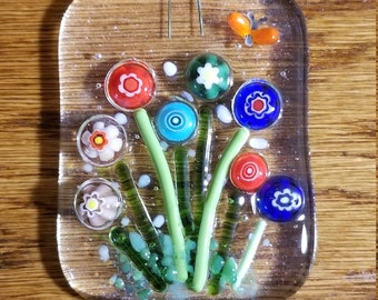 Blooming Flowers Fused Glass Suncatcher