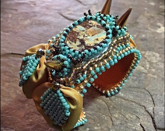 Dragon's Hoard Bead Embroidered and Wired Ribbon Cuff Bracelet with Boulder Opal Centerpiece - by Hannah Rosner