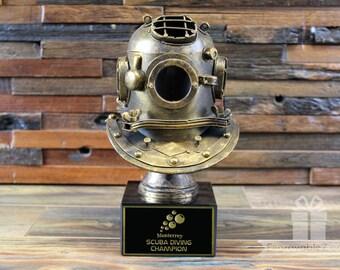 Custom Trophy - Vintage Scuba Diver Helmet