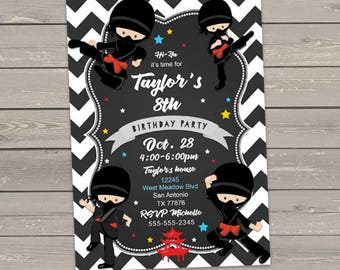 Ninja birthday invitations, kids birthday party, martial arts, chevron, digital or printed invites