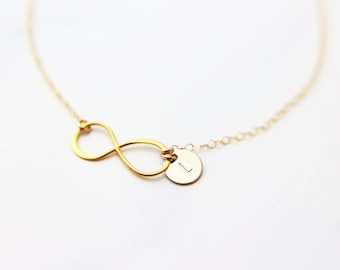 Dainty Infinity Necklace in Gold filled and Sterling silver, Infinity charm necklace