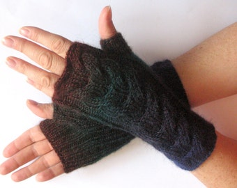 Fingerless Gloves Dark Blue Green Brown wrist warmers