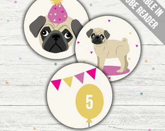 Pug Cupcake Toppers (Pug Party Printables). Pink. Editable PDF. Instant Download.