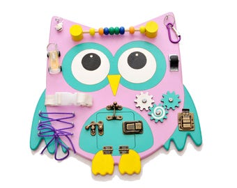 Toddler learning gift Montessori kid toy Travel busy board Preschool Activity Board with locks Special needs wooden owl toy abacus for girl