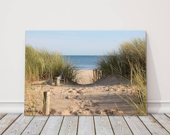 Beach  scene canvas print sand reeds sea picture perfect gift