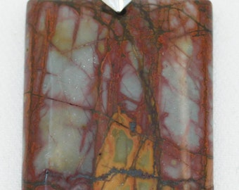 AAA+ Multi-Colored Picasso Stone Rectangular Pendant