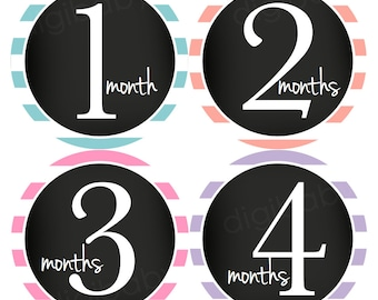 Chalkboard Stripes Girl Baby Month Stickers, Baby Shower Gift, Baby Stickers, Monthly Baby Stickers, Baby Month Stickers for Girls or Boys