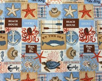 "Sea Beach Coastal Starfish Crabs Octopus Shells Seahorse Turtles Oars Coral Anchors Valance 41"" x 14"""
