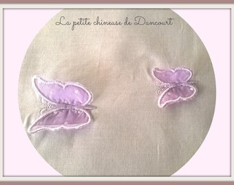 Fabric 3D purple butterflies on white background