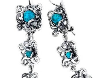 Silver Earrings, Turquoise Earrings, Sterling Silver Earrings, Silver Jewelry