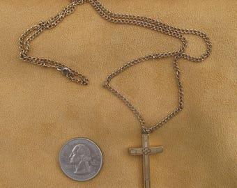 "Antique Gold Filled Cross w/ 21"" Chain  Cross 1 1/4"" L X 3/4"" W"