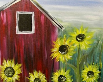 CLASS Painting Class  - Barn with Flowers 12x16 Canvas