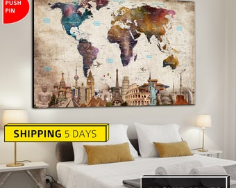 Wonders of the World, Wall World Map , Colorful World Map, Wall Art, Home Decor, Canvas, Map, World Map Print, Abstract World Map, World Map