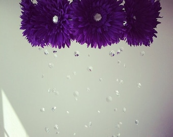 purple baby mobile, baby girl mobile, purple mobile, baby mobile, purple flower mobile, princess mobile, crystal baby mobile,