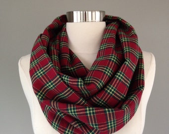 Women's red and green plaid infinty scarf- flannel, christmas, tartan