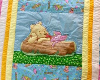 Winnie the Pooh - Baby Quilt - baby shower gift - appliquéd - handmade - newborn gift - gender neutral - nursery decor - Piglet baby quilt