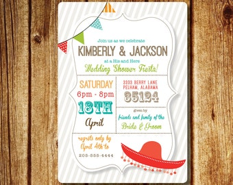 Fiesta Wedding Shower Invitation; Couples Wedding Shower Invitation; Custom Digital File