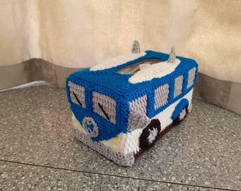 New Design Surfer Kombi Van Tissue Box Cover with surfboards on the roof- Crocheted in Customised Colours. Volkswagon VW
