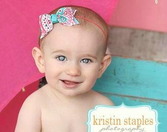 Boutique Coral and Aqua Headband Tuxedo Bow Skinny Elastic Headband Baby Aqua Headband Baby Coral Headband Summer Headband