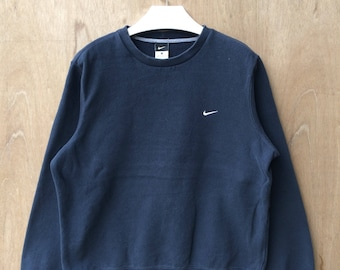 Vtg 90s Nike swoosh small logo embroideries sweatshirt hip hop swag L size