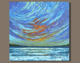 large abstract painting, sunset painting, sunset seascape painting, orange purple, ocean painting, cape breton island, nova scotia art