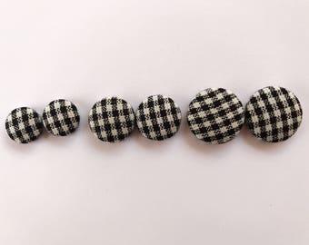 Handmade Black Gingham Fabric Button Earrings