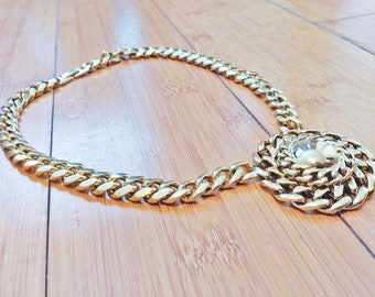 Vintage 1980 Huge Big Chunky Runway Faux Gold Chain Hiphop Necklace