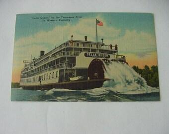 Vintage Delta Queen River Boat, Tennessee River, Western Kentucky Postcard, Linen, Scrapbooking, Collage, Ephemera, Curteich Colortone