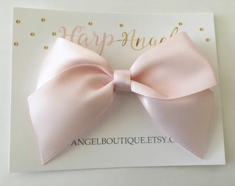 Pink Satin Ribbon Bow Nylon One Size Headband or Hair Clip Newborn / Baby / Toddler / Girls