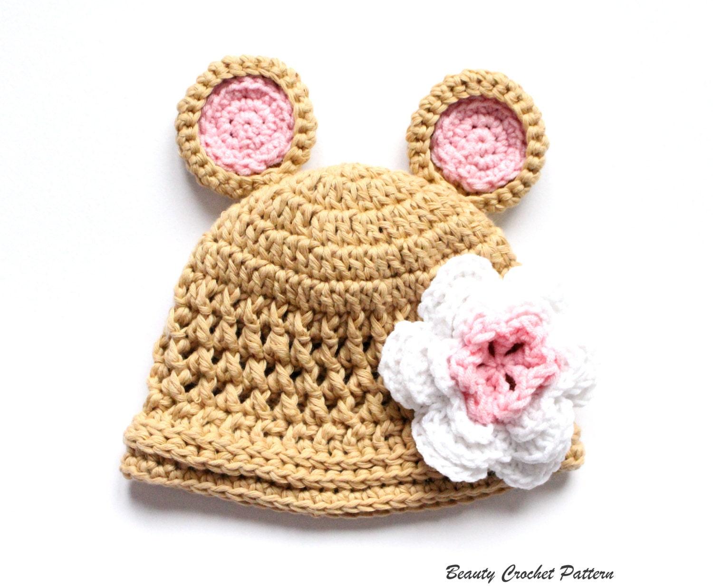 Crochet Bear Hat Pattern, Crochet Baby Hat Pattern, Toddler Bear Hat ...