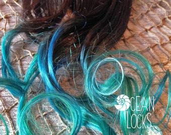 Dip Dye Hair Extensions, Hair extensions clip in, Ombre hair extension, Pastel hair , Green Hair, Teal Hair, Black Hair, Mermaid Hair