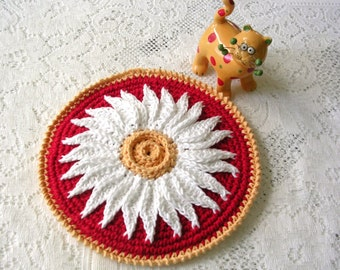 Crochet Daisy Potholder - Red Cotton Crochet Hot Pad - Flower Pot Holder - Crochet Potholder - Daisy Pot Holder