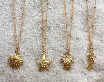 Ocean Charm Necklaces 14k