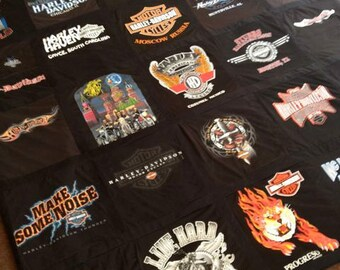 Harley Davidson Themed Memory T Shirt Blanket - Custom with Border