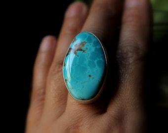 READY TO SHIP - Large Kingman Turquoise Sterling Silver Ring | Size 8.25 8.5 | Geometric Minimalist Boho Bohemian | Gugma Jewelry