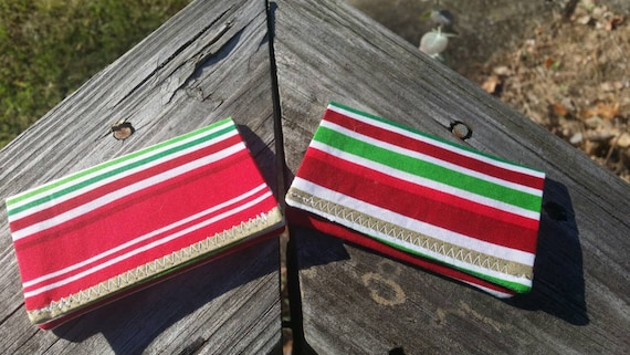 Holiday Striped Chistmas Gift Card Holder/ Holiday Gift Money Holder/ Gift Card Wallet / Gift Card Holder / Fabric Envelope/ Earbuds Holder