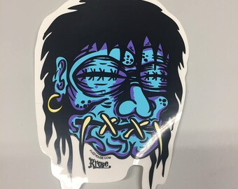 Car Decal - Shrunken Head by Rob Kruse