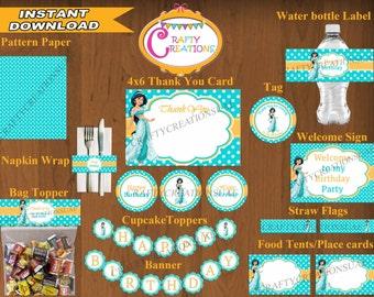 INSTANT DOWNLOAD - Princess Jasmine Birthday Printable Package - Aladdin Jasmine Birthday Party Package - DIGITAL - CraftyCreationsUAE