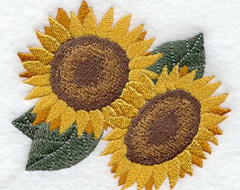 Sassy Sunflower Duo Embroidered Flour Sack Hand/Dish Towel