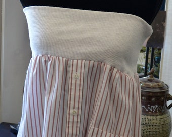 Gray, Blush & White Strapless Tunic, Skirt