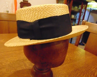 Vintage Dobbs Solid Straw Hat with Black Sash & Bow in Original Box
