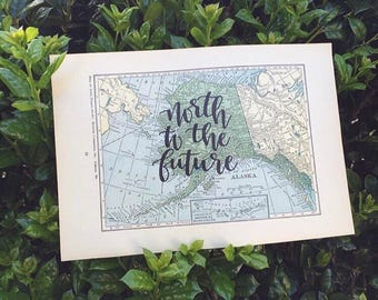 Alaska & Wyoming | personalized calligraphy map | original vintage map | calligraphy map | custom calligraphy map